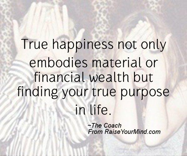 true happiness not only embodies material or financial