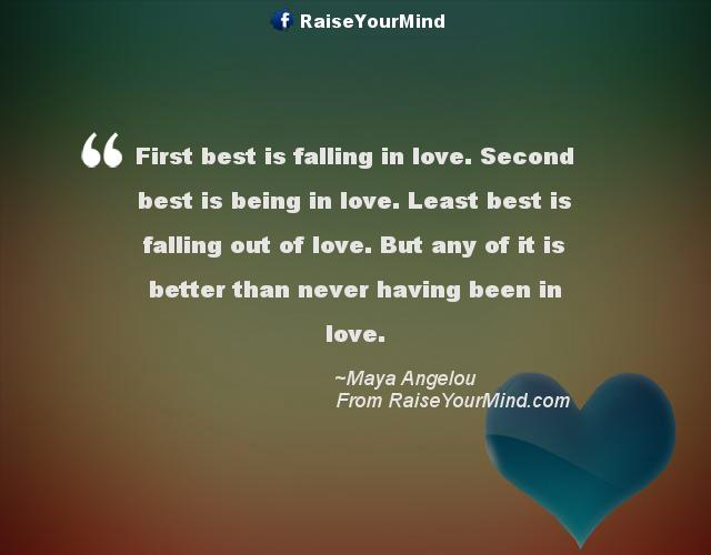 Second Love Quotes Mesmerizing First Best Is Falling In Love Second Best Is Being In Love Least
