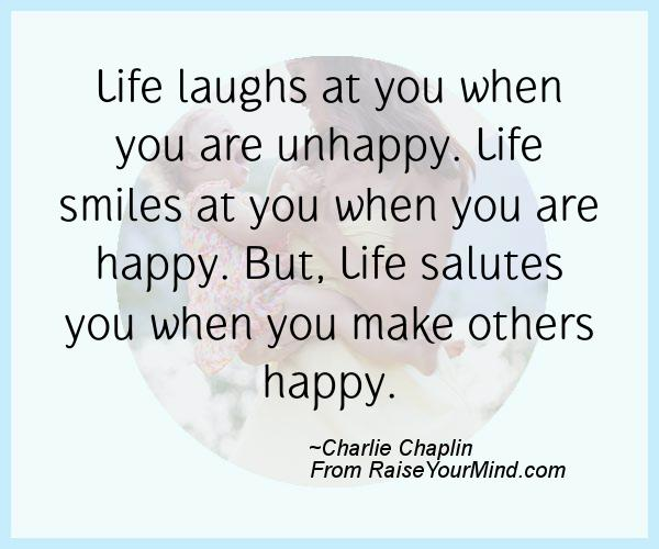 A nice happiness quote from Charlie Chaplin  - Proverbes Happiness