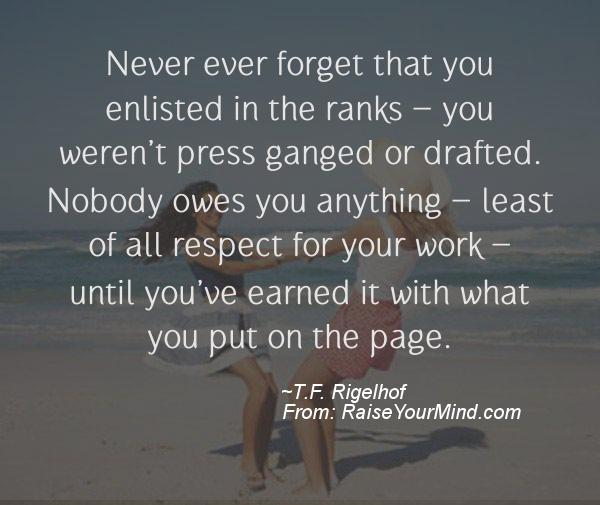 A nice motivational quote from T.F. Rigelhof