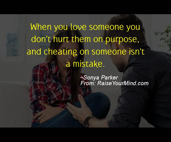 A nice cheating quote from Sonya Parker